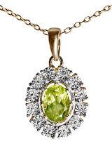 Zauberhafter Anhänger 925er Silber vergoldet Peridot, kleiner Diamant