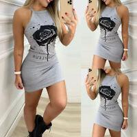 Women Summer Sleeveless Slim Mini Dress Ladies Casual Vest Tank Bodycon Dresses