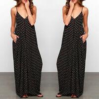 Summer Women Sleeveless Hippie Long Maxi Polka Dots Loose Beach Sundress Dress