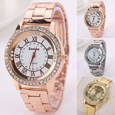 Women Mens Crystal Rhinestone Stainless Steel Bracelet Analog Quartz Wrist Watch