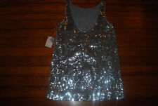 NEW Free People Silver Sequin Sparkle Bling Dress (10) $188