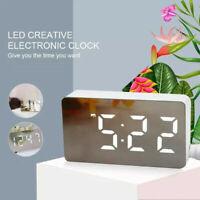 Mini LED Digital Mirror Table Clock Temperature Display Date Electronic Alarm