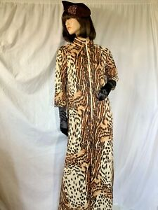 Vintage leopard Zip maxi Nylon 3/4 sleeve Robe gown Slinky silky 70s dress L mod