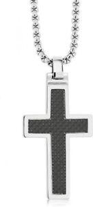 Black Carbon Fiber Tungsten Carbide Cross Pendant ON 3MM Stainless Steel Box