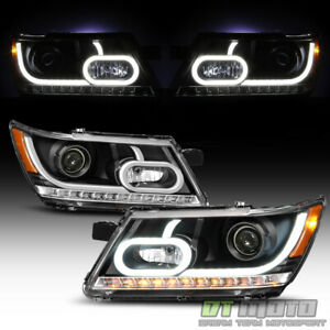 Black 2009-2019 Dodge Journey LED Light Tube Projector Headlights Headlamp 09-18
