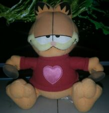 """Vintage 1980's 9"""" GARFIELD Cat Window Cling Suction Cup Plush Animal Pink Heart"""