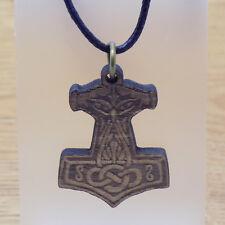 Wooden Thor's Hammer Mjolnir Pendant & Black Cord Necklace Celtic Viking Jewelry