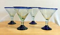 Four El Tesoro Tequila Blue Hand-Blown Martini-Style Margarita Glasses set of 4