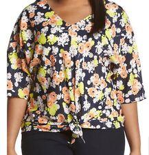 Jones New York Signature Woman Navy Combo Floral Tie Front Top Size XL MSRP $74