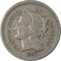 1867 3c Nickel Three Cent Piece US Coin VG Very Good