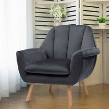 Chesterfield Velvet Armchair Bedroom Occasional Lounge Chair Grey with Cushioned