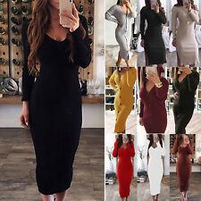 Womens Long Sleeve Jumper Midi Dress Winter Knit Slim Bodycon Sweater Dresses