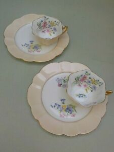 2 Shelley Stratford Shape Pale Peach Wild Flowers Cup & Plate Saucer Snack Sets