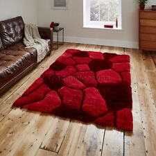 Red 3d Pebble Rug Shaggy Pile Noble House Soft Hand Tufted Home Décor Floor Mat 150cm X 230cm