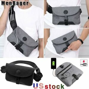 Men's Multi-Function Sling Chest Pack USB Charging Travel Crossbody Bag Purse US
