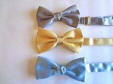 MAKER UNKNOWN - SILVER/BLUE/GOLD BOW TIES (3) - ADJUSTS TO 18:NECKS
