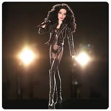 Barbie 2007 NRFB 80's Celebrity Cher Bob Mackie Black label Doll Leather Jacket