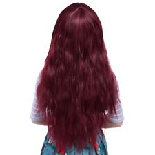 Full Bangs Long Half Curly Hair Wig Heat Resistant Natural  Black/ WINE RED