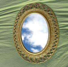 Vintage Oval Wall Mirror Ornate Bright Gold 1959 Hollywood Regency 30x19
