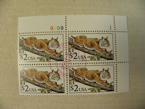 US Postage Stamp Scott # 2482 Bobcat $2 Used Plate Block of 4 Gummed