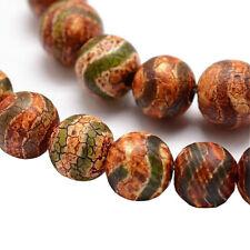 Tibet DZI Achat Buddha Perlen 8mm Natur Edelstein Rund Tibetanischer Beads G744