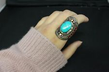 Nepalese Ring with Stone Authentic Ethnic Big Chunky Statement Jewllery