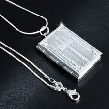 Cross Bible Box Pendant Necklace Photo Frame Floating Locket Christian Jewelry