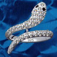 Damenring Schlange Echt 925 Sterling Silber Strasssteine Kristall Zirkonia