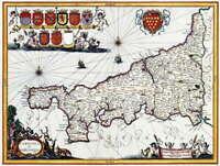 110982 MAP ANTIQUE 1662 BLAEU CORNWALL COUNTY ENGLAND Decor LAMINATED POSTER UK
