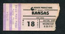 Original 1981 Kansas Concert Ticket Stub Omaha NE Audio Visions Dust In The Wind