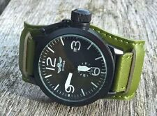 Large Military Diver/ Pilot/ Aviator style automatic canteen PVD leather strap