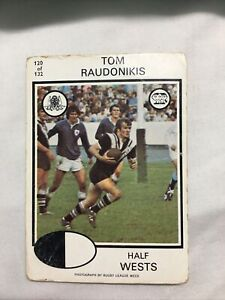 1975 SCANLENS WESTS RUGBY LEAGUE CARDS #120 TOMMY RAUDONIKIS