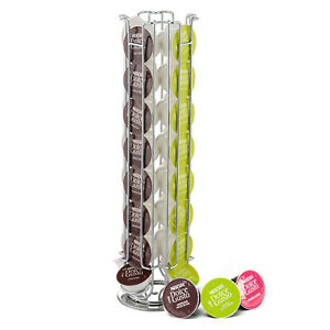 REVOLVING ROTATING 32 COFFEE POD CAPSULE HOLDER TOWER STAND RACK DOLCE GUSTO