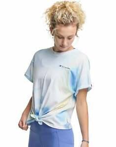 Champion Women's Tie-Front Tie-Dye Tee T-Shirt Short Sleeve Script Logo Cotton