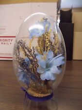Clear Glass Stand Alone Egg with Silk Flowers Inside Knick Knack Blue Trim