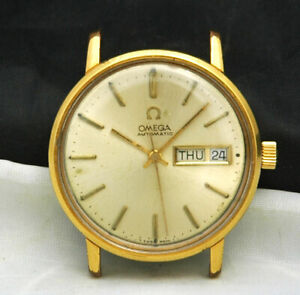OMEGA Automatic Day Date Mens GOLD Watch 166 0209 17 Jewels 1020 VTG RUNS LOT A