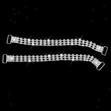 2pcs 3-Row Crystal Rhinestone BIKINI CONNECTORS Swimwear Buckles Metal Chain