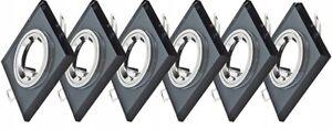 Einbaustrahler LED 6er Set Decken Strahler 230V GU10 Glas Spots Rahmen Schwarz Q