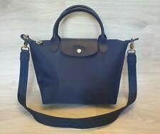 Authentic Longchamp Nylon Leather Shoulder bag Neo w/ strap navy Tote Le Pliage