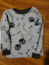 Boys Carter's Gray with Paw Prints Long Sleeve Pullover Crewneck Shirt Size 4T