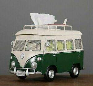 Handcrafts Bus Figurines Retro classic cars Tissue Box Crafts Vintage Ornament