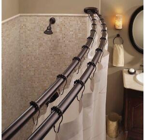 "Double Curved Shower Curtain Rod Adjustable Crescent Fixture, Bronze 60-72"" NIB!"