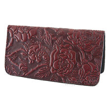 Wild Rose Wine-Brown Hand Made Leather Checkbook Cover Holder by Oberon Design