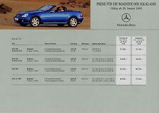Mercedes SLK Preisliste 28.1.02 price list 2002 Auto PKWs 200 230 K 320 32 AMG