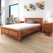 vidaXL Acaciahouten Bedframe Massief 140x200 cm Bruin Bed Frame Frames Bedden