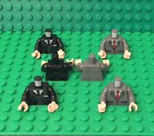 Lego X6 New Black / Dark Bluish Gray Suit With Tie Pattern Torso W/ Flesh Hands