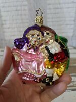 VTG Inge Glas Mr. & Mrs. Fezziwig Blown Glass Xmas Carol Old World Ornament RARE