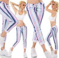 ITALY Damen Hose JogPants Baggy Freizeithose Stretch Streifen gestreift 34-38