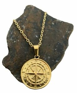 Craftd London Compass Pendant Mens Necklace Link Chain Nautical Gold Tone Signed