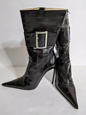 Gianmarco Lorenzi (40) Zip Up Buckle Detail Pointed Toe Dagger Stiletto Boots
